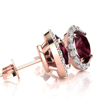 1 1/4 Carat Oval Shape Garnet and Halo Diamond Stud Earrings In 14 Karat Rose Gold