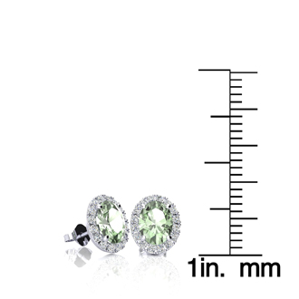 1 Carat Oval Shape Green Amethyst and Halo Diamond Stud Earrings In 10 Karat White Gold