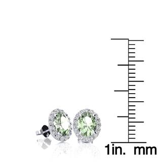 1 Carat Oval Shape Green Amethyst and Halo Diamond Stud Earrings In 14 Karat White Gold