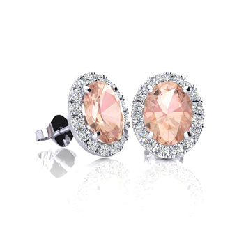 1 Carat Oval Shape Morganite and Halo Diamond Stud Earrings In 14 Karat White Gold