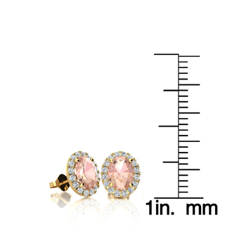 1 Carat Oval Shape Morganite and Halo Diamond Stud Earrings In 10 Karat Yellow Gold