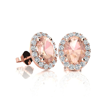 1 Carat Oval Shape Morganite and Halo Diamond Stud Earrings In 10 Karat Rose Gold