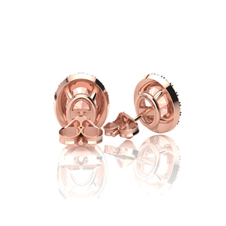 1 Carat Oval Shape Morganite and Halo Diamond Stud Earrings In 14 Karat Rose Gold