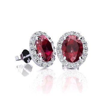 1 1/4 Carat Oval Shape Ruby and Halo Diamond Stud Earrings In 10 Karat White Gold