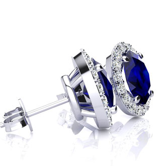 1 1/3 Carat Oval Shape Sapphire and Halo Diamond Stud Earrings In 10 Karat White Gold