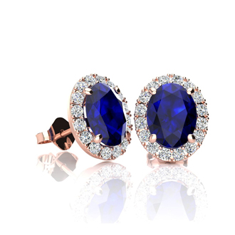 1 1/3 Carat Oval Shape Sapphire and Halo Diamond Stud Earrings In 10 Karat Rose Gold