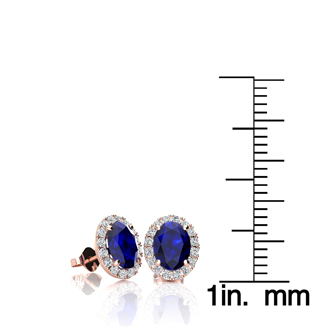 1 1/3 Carat Oval Shape Sapphire and Halo Diamond Stud Earrings In 14 Karat Rose Gold