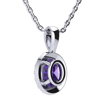 3/4 Carat Oval Shape Amethyst and Halo Diamond Necklace In 10 Karat White Gold With 18 Inch Chain
