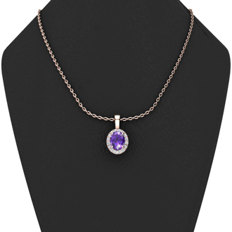 3/4 Carat Oval Shape Amethyst and Halo Diamond Necklace In 10 Karat Rose Gold With 18 Inch Chain