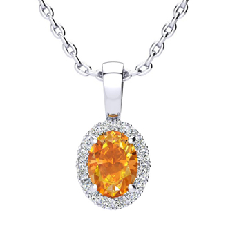 3/4 Carat Oval Shape Citrine and Halo Diamond Necklace In 14 Karat White Gold With 18 Inch Chain