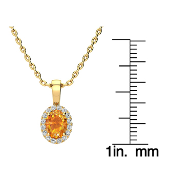 3/4 Carat Oval Shape Citrine and Halo Diamond Necklace In 14 Karat Yellow Gold With 18 Inch Chain