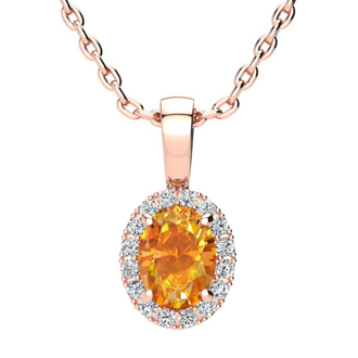 3/4 Carat Oval Shape Citrine and Halo Diamond Necklace In 14 Karat Rose Gold With 18 Inch Chain