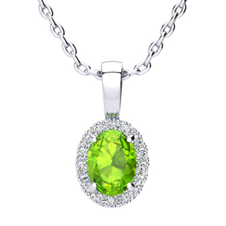 1 Carat Oval Shape Peridot and Halo Diamond Necklace In 10 Karat White Gold With 18 Inch Chain