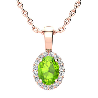 1 Carat Oval Shape Peridot and Halo Diamond Necklace In 10 Karat Rose Gold With 18 Inch Chain