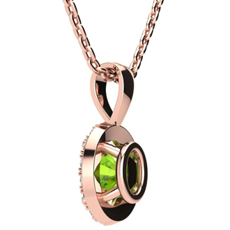 1 Carat Oval Shape Peridot and Halo Diamond Necklace In 14 Karat Rose Gold With 18 Inch Chain