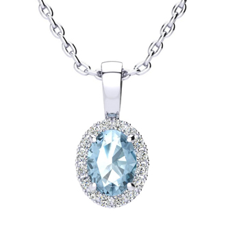 1 Carat Oval Shape Blue Topaz and Halo Diamond Necklace In 10 Karat White Gold With 18 Inch Chain