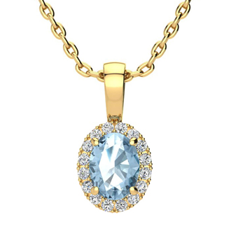 1 Carat Oval Shape Blue Topaz and Halo Diamond Necklace In 10 Karat Yellow Gold With 18 Inch Chain
