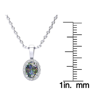 1 Carat Oval Shape Mystic Topaz and Halo Diamond Necklace In 14 Karat White Gold With 18 Inch Chain