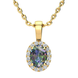 1 Carat Oval Shape Mystic Topaz and Halo Diamond Necklace In 10 Karat Yellow Gold With 18 Inch Chain