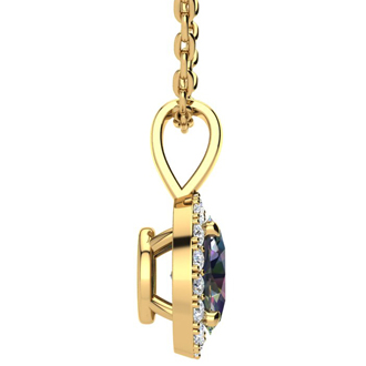 1 Carat Oval Shape Mystic Topaz and Halo Diamond Necklace In 14 Karat Yellow Gold With 18 Inch Chain