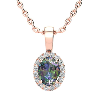 1 Carat Oval Shape Mystic Topaz and Halo Diamond Necklace In 10 Karat Rose Gold With 18 Inch Chain