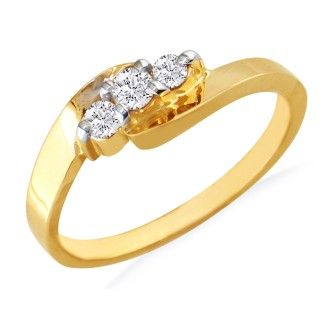 1/5ct Three Diamond Ring in 10k Yellow Gold