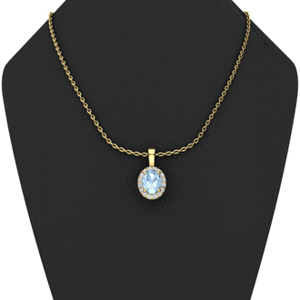 0.90 Carat Oval Shape Aquamarine and Halo Diamond Necklace In 10 Karat Yellow Gold With 18 Inch Chain