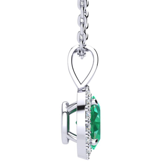 0.90 Carat Oval Shape Emerald and Halo Diamond Necklace In 10 Karat White Gold With 18 Inch Chain