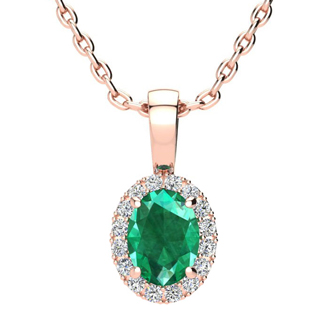 0.90 Carat Oval Shape Emerald and Halo Diamond Necklace In 10 Karat Rose Gold With 18 Inch Chain
