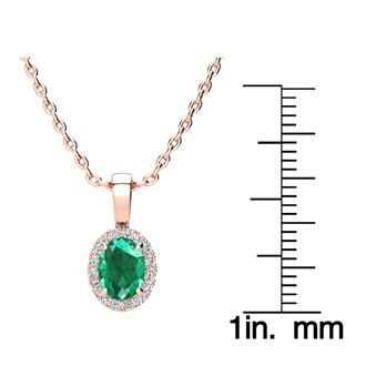 0.90 Carat Oval Shape Emerald and Halo Diamond Necklace In 14 Karat Rose Gold With 18 Inch Chain