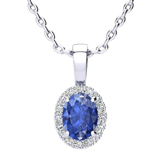 1 Carat Oval Shape Tanzanite and Halo Diamond Necklace In 14 Karat White Gold With 18 Inch Chain