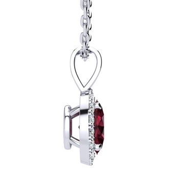 1 Carat Oval Shape Garnet and Halo Diamond Necklace In 14 Karat White Gold With 18 Inch Chain