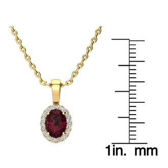 1 Carat Oval Shape Garnet and Halo Diamond Necklace In 10 Karat Yellow Gold With 18 Inch Chain