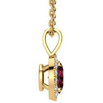 1 Carat Oval Shape Garnet and Halo Diamond Necklace In 14 Karat Yellow Gold With 18 Inch Chain