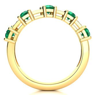 1 1/3 Carat Emerald and Diamond Journey Band Ring in 10K Yellow Gold