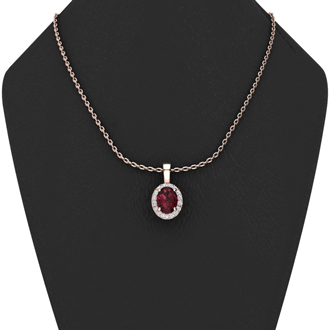 1 Carat Oval Shape Garnet and Halo Diamond Necklace In 10 Karat Rose Gold With 18 Inch Chain