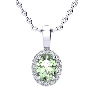 3/4 Carat Oval Shape Green Amethyst and Halo Diamond Necklace In 10 Karat White Gold With 18 Inch Chain