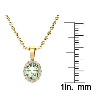 3/4 Carat Oval Shape Green Amethyst and Halo Diamond Necklace In 14 Karat Yellow Gold With 18 Inch Chain