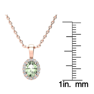 3/4 Carat Oval Shape Green Amethyst and Halo Diamond Necklace In 10 Karat Rose Gold With 18 Inch Chain