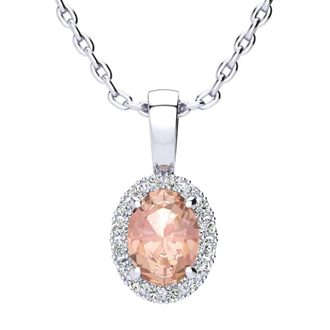0.90 Carat Oval Shape Morganite and Halo Diamond Necklace In 10 Karat White Gold With 18 Inch Chain