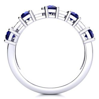 1 1/2 Carat Sapphire and Diamond Journey Band Ring in 10K White Gold