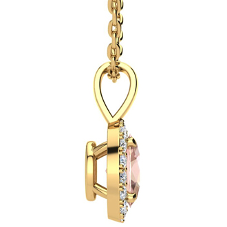 0.90 Carat Oval Shape Morganite and Halo Diamond Necklace In 14 Karat Yellow Gold With 18 Inch Chain