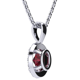 1 Carat Oval Shape Ruby and Halo Diamond Necklace In 10 Karat White Gold With 18 Inch Chain