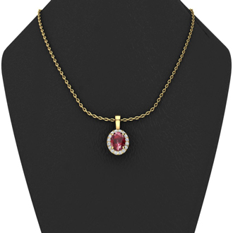 1 Carat Oval Shape Ruby and Halo Diamond Necklace In 10 Karat Yellow Gold With 18 Inch Chain
