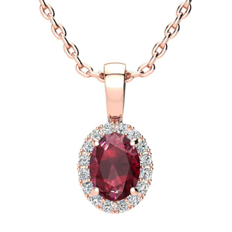 1 Carat Oval Shape Ruby and Halo Diamond Necklace In 14 Karat Rose Gold With 18 Inch Chain