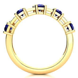 1 1/2 Carat Sapphire and Diamond Journey Band Ring in 10K Yellow Gold