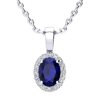 1 Carat Oval Shape Sapphire and Halo Diamond Necklace In 10 Karat White Gold With 18 Inch Chain