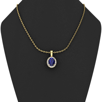 1 Carat Oval Shape Sapphire and Halo Diamond Necklace In 10 Karat Yellow Gold With 18 Inch Chain