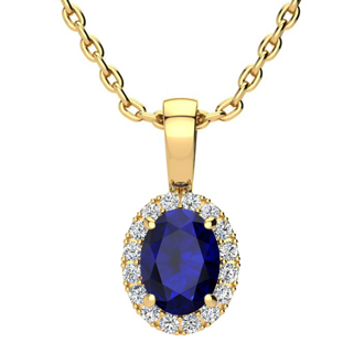 1 Carat Oval Shape Sapphire and Halo Diamond Necklace In 14 Karat Yellow Gold With 18 Inch Chain