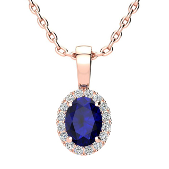 1 Carat Oval Shape Sapphire and Halo Diamond Necklace In 10 Karat Rose Gold With 18 Inch Chain